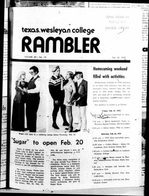 Primary view of object titled 'The Rambler (Fort Worth, Tex.), Vol. 49, No. 19, Ed. 1 Thursday, February 20, 1975'.