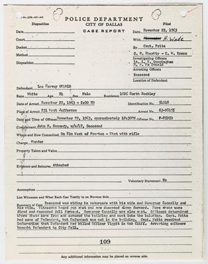 Primary view of object titled '[Case Report on Lee Harvey Oswald by J. W. Fritz #2]'.