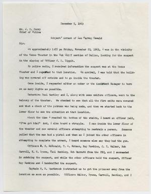 [Report by Sergeant of Police Gerald L. Hill to Chief of Police J. E. Curry, December 5, 1963 #1]