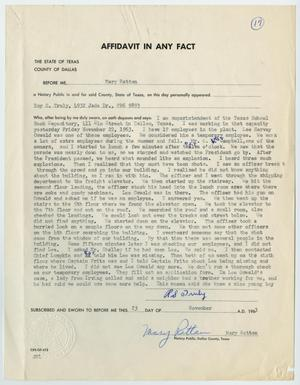 Primary view of object titled '[Affidavit in Any Fact - Statement by Roy S. Truly, November 23, 1963 #1]'.