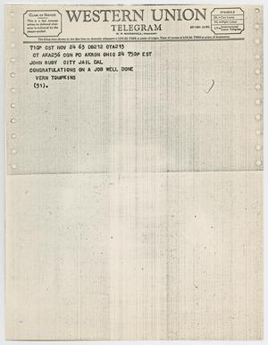 Primary view of object titled '[Telegram to Jack Ruby from Vern Tompkins, November 24, 1963 #2]'.