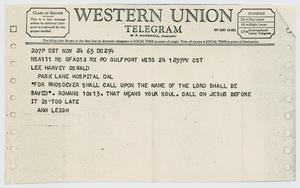 Primary view of object titled '[Telegram to Lee Harvey Oswald from Ann Leigh, November 24, 1963]'.