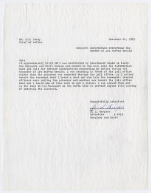 Primary view of object titled '[Report to Chief J. E. Curry by D. L. Burgess, regarding the murder of Lee Harvey Oswald #3]'.