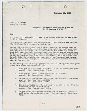 Primary view of object titled '[Report from P. L. Bentley to Chief J. E. Curry, December 12, 1963]'.
