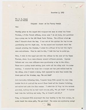Primary view of object titled '[Report from H. H. Stringer to Chief J. E. Curry, concerning the arrest of Lee Harvey Oswald #2]'.