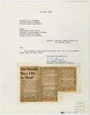 Primary view of object titled '[Report to W. P. Gannaway by W. S. Biggio, June 18, 1964 #1]'.