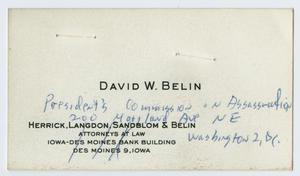 Primary view of object titled '[Business Card for David W. Belin]'.