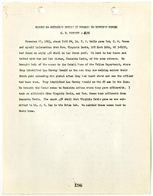 Primary view of object titled '[Report on Officer's Duties by C. N. Dhority, in regards to Officer Tippit's murder #1]'.