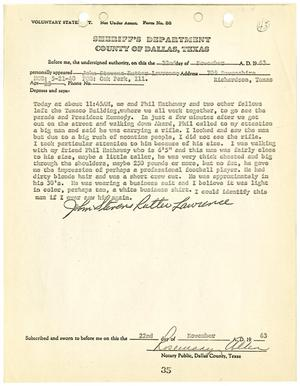 Primary view of object titled '[Voluntary Statement by John Stevens R. Lawrence #1]'.