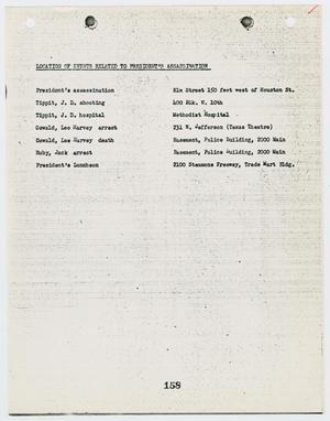 Primary view of object titled '[List of events related to the President's assassination #2]'.