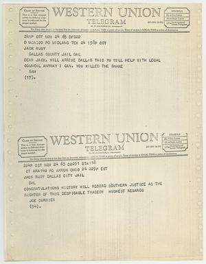 Primary view of object titled '[Telegrams to Jack Ruby from Sam and Joe Currier, November 24, 1963 #1]'.