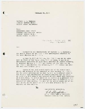 Primary view of object titled '[Report to W. P. Gannaway by L. D. Stringfellow, February 14, 1964]'.