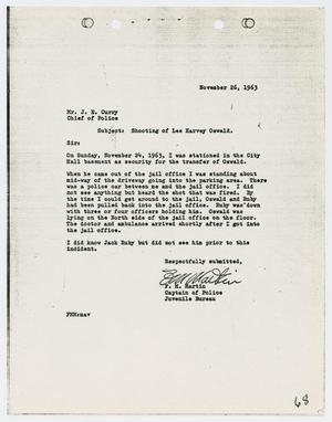Primary view of object titled '[Report from F. M. Martin to Chief J. E. Curry, November 26, 1963]'.