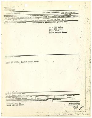 Primary view of object titled '[Autopsy Report for John F. Kennedy, by J. C. Humes]'.