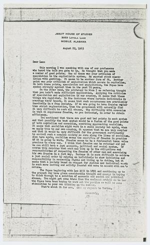 Primary view of object titled '[Letter to Lee Harvey Oswald from E. J. Murret, August 22, 1963]'.