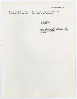 Primary view of object titled '[Note by Bill Decker, concerning telegrams for Jack Ruby]'.