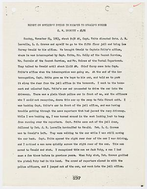 Primary view of object titled '[Report on Officer's Duties by C. N. Dhority, in regards to Lee Harvey Oswald's murder #2]'.