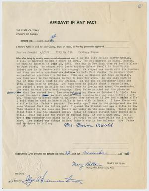 Primary view of object titled '[Affidavit in Any Fact - Statement by Marina Oswald, November 22, 1963 #1]'.