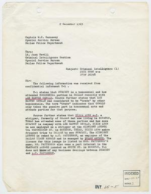 Primary view of object titled '[Report to W. P. Gannaway by H. M. Hart, December 2, 1963 #1]'.