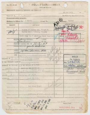 Primary view of object titled '[Property Clerk's Receipt for Map, November 26, 1963]'.