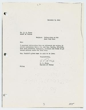 Primary view of object titled '[Report to J. E. Curry by O. A. Jones, December 5, 1963]'.