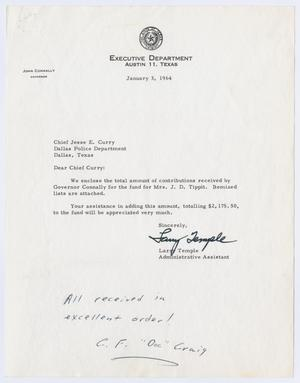 Primary view of object titled '[Correspondence to Chief J. E. Curry considering the Tippit Fund, 1964]'.