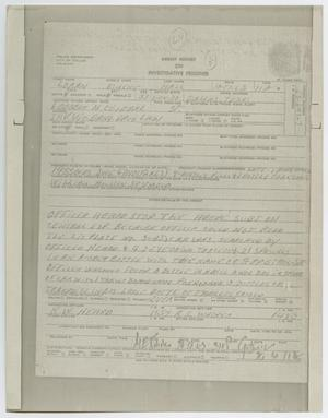 Primary view of object titled '[Arrest Report on Loran Eugene Hall]'.