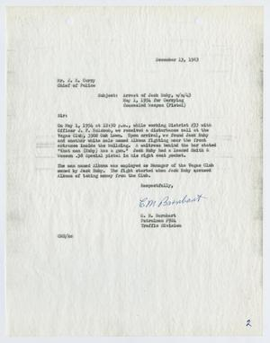 Primary view of object titled '[Report to Chief J. E. Curry by C. M. Barnhart, concerning the prior arrest of Jack Ruby]'.