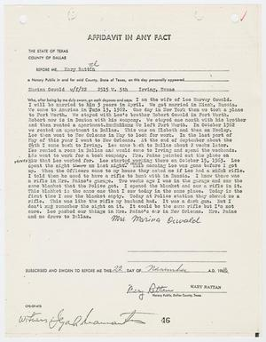 Primary view of object titled '[Affidavit In Any Fact by Marina Oswald #2]'.