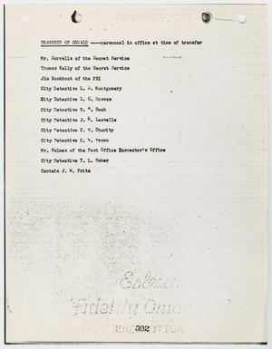 Primary view of object titled '[List of Personnel in Office at Time of Transfer of Lee Harvey Oswald #2]'.