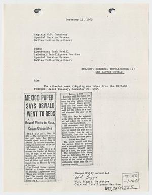 Primary view of object titled '[Report to W. P. Gannaway by W. S. Biggio, December 11, 1963 #2]'.