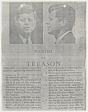 Primary view of object titled '[Flyer of President John F. Kennedy by Robert Glenn Klause]'.