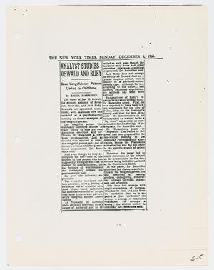 Primary view of object titled '[Newspaper Clipping: Analyst Studies Oswald and Ruby]'.