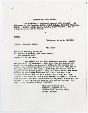 Primary view of object titled '[Letter from J. Gordon Shanklin, April 27, 1964]'.