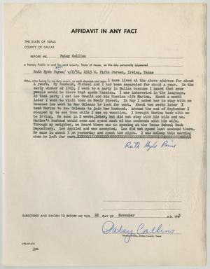 Primary view of object titled '[Affidavit in Any Fact - Statement by Ruth Hyde Paine, November 22, 1963 #2]'.