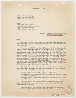 Primary view of object titled '[Report to W. P. Gannaway by W. S. Biggio, February 5, 1964 #1]'.