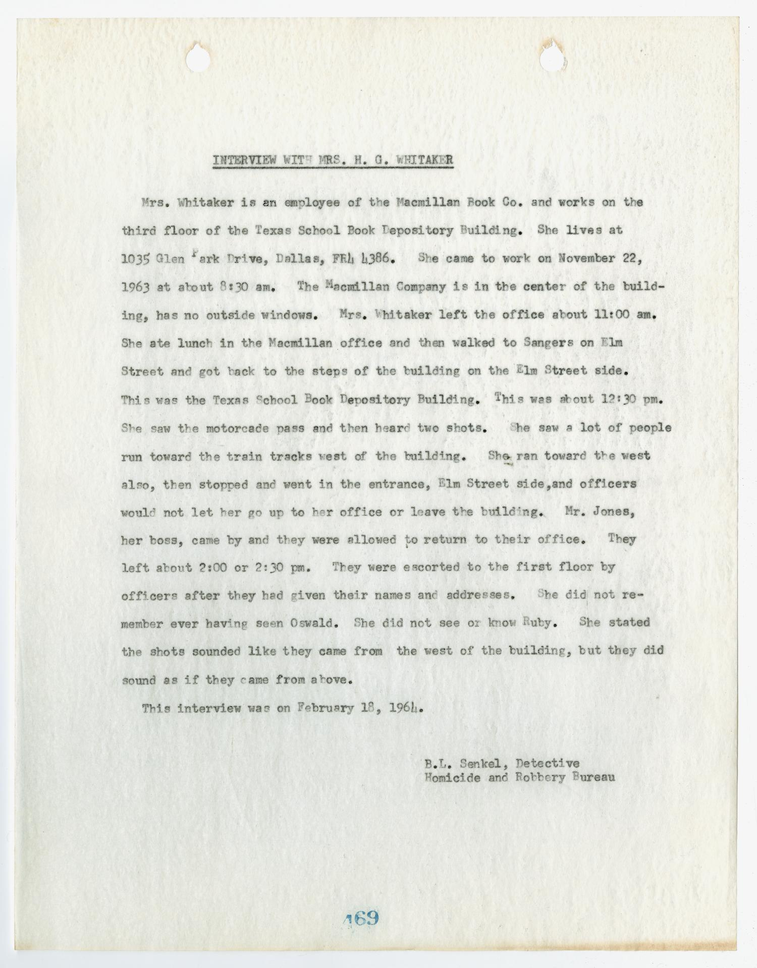 [Report by B. L. Senkel, concerning an interview with Mrs. H. G. Whitaker #1]                                                                                                      [Sequence #]: 1 of 2