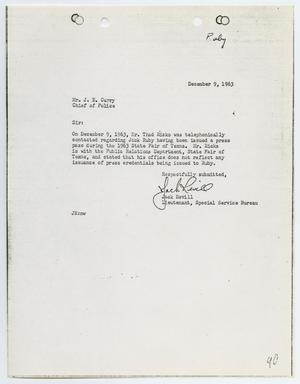 Primary view of object titled '[Report from Jack Revill to Chief J. E. Curry, December 9, 1963]'.