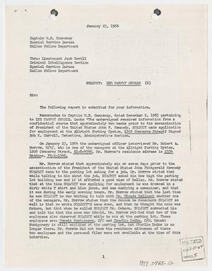 Primary view of object titled '[Report to W. P. Gannaway by Bob K. Carroll, January 23, 1964 #2]'.