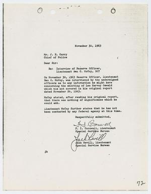 Primary view of object titled '[Report from F. I. Cornwall to Chief J. E. Curry, November 30, 1963]'.