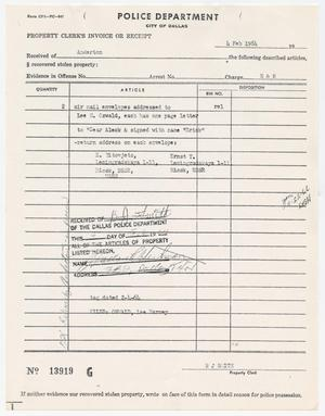 Primary view of object titled '[Property Clerk's Invoice or Receipt by B. J. Smith, February 4, 1964]'.