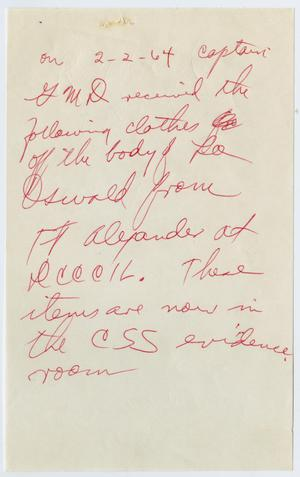 Primary view of object titled '[Handwritten Note About Oswald's Clothing]'.