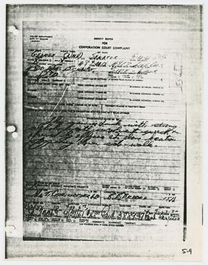 Primary view of object titled '[Arrest Report for George Senator]'.