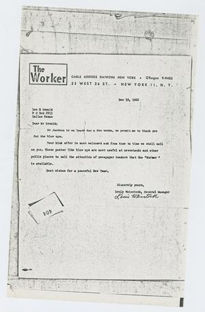 Primary view of object titled '[Letter to Lee Harvey Oswald from Louis Weinstock, December 19, 1962]'.