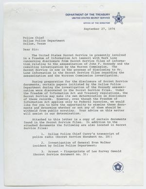 Primary view of object titled '[Letter from David H. Martin to Police Chief - September 27, 1976]'.