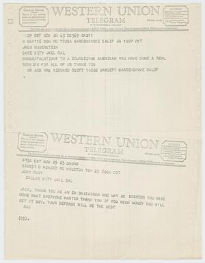Primary view of object titled '[Telegrams to Jack Ruby from Mr. and Mrs. Richard Scott, November 24, 1963 and Rob, November 25, 1963 #2]'.