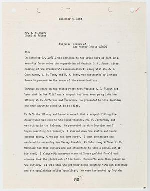 Primary view of object titled '[Report from E. E. Taylor to Chief J. E. Curry, concerning the arrest of Lee Harvey Oswald #2]'.