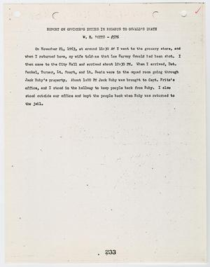 Primary view of object titled '[Report on Officer's Duties by W. E. Potts, in regards to Lee Harvey Oswald's death #2]'.