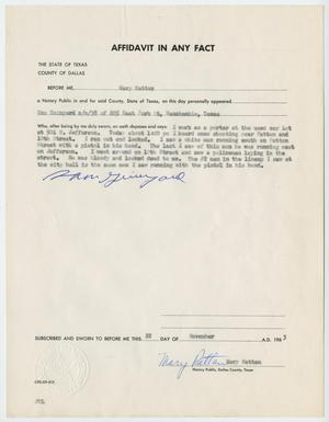 Primary view of object titled '[Affidavit in Any Fact - Statement by Sam Guinyard, November 22, 1963 #2]'.