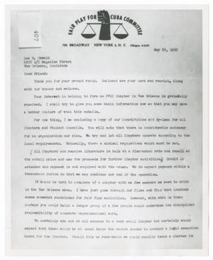 Primary view of object titled '[Letter from the Fair Play for Cuba Committee to Lee Harvey Oswald, May 29, 1963 #1]'.